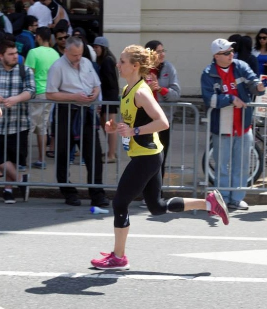 Nichole Bukowski running the 2014 Boston Marathon